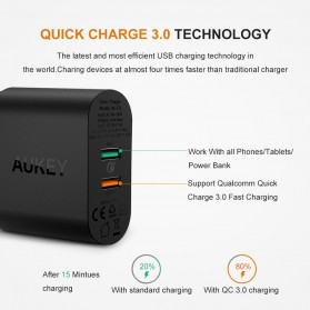 Aukey Charger USB 2 Port Quick Charge 3.0 - PA-T13 - Black - 2