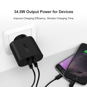 Aukey Charger USB 2 Port Quick Charge 3.0 - PA-T13 - Black - 3