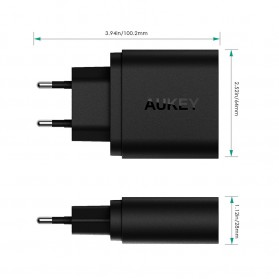 Aukey Charger USB 2 Port Quick Charge 3.0 - PA-T13 - Black - 5