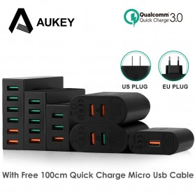 Aukey Charger USB 3 Port Quick Charge 3.0 - PA-T14 - Black - 3