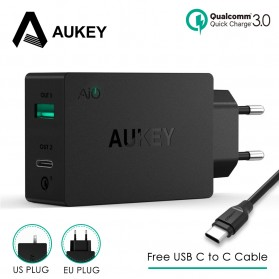 Aukey Charger USB 2 in 1 USB Type C Quick Charge 3.0 - PA-Y2 - Black