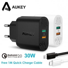 AUKEY Charger USB Wall Charger 2 Port QC2.0 and AiPower with Micro USB Cable 1M - PA-T12 - Black