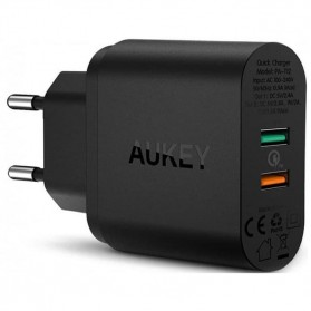 AUKEY Charger USB Wall Charger 2 Port QC2.0 and AiPower with Micro USB Cable 1M - PA-T12 - Black - 2