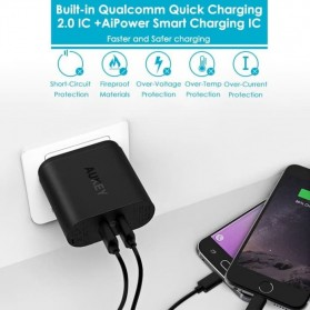 AUKEY Charger USB Wall Charger 2 Port QC2.0 and AiPower with Micro USB Cable 1M - PA-T12 - Black - 3
