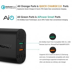 AUKEY Charger USB Wall Charger 2 Port QC2.0 and AiPower with Micro USB Cable 1M - PA-T12 - Black - 5