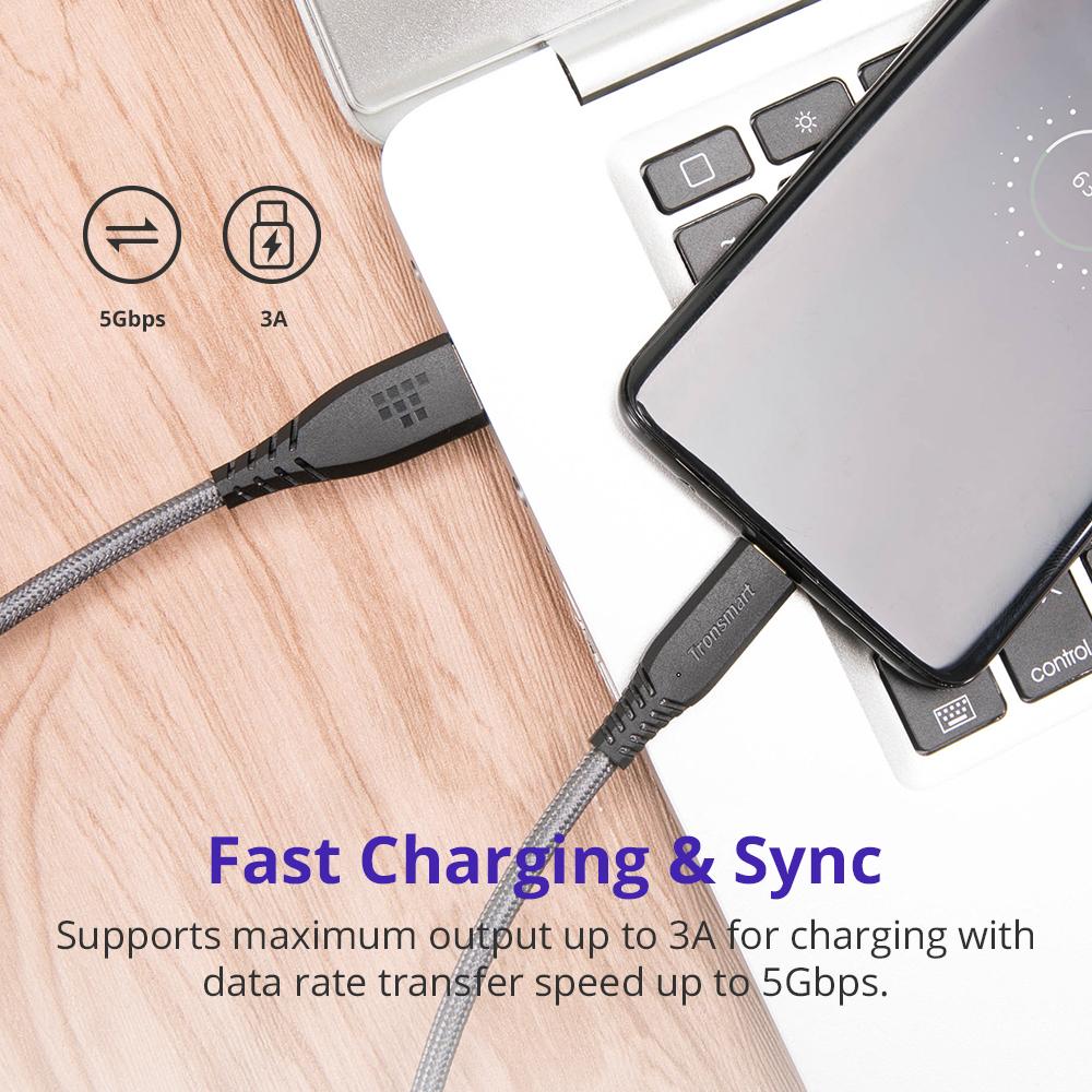 ... 1 Tronsmart Kabel Charger USB Type C 3.0 Braided Gold Plated - TAC01 - Black - 2 ...