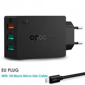 CRDC Charger USB 3 Port Quick Charge 3.0 42W - PA-T14 - Black