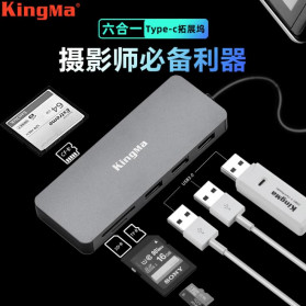 KingMa USB Type C Adapter Hub 6 in 1 Card Reader - KM01 - Silver