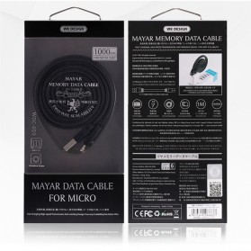 WK Mayar Kabel Charger Braided Lightning - WDC-050 - Black - 5