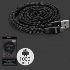 WK Mayar Kabel Charger Braided Micro USB - WDC-050 - Black - 1