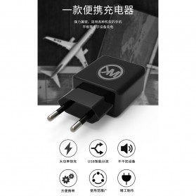 WK Charger USB 2 Port 2.1A EU Plug with Micro USB Cable - WP-U11 - Black - 3