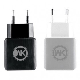 WK Charger USB 2 Port 2.1A EU Plug with Micro USB Cable - WP-U11 - Black - 5