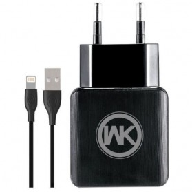 WK Charger USB 2 Port 2.1A EU Plug with Lightning Cable - WP-U11 - Black