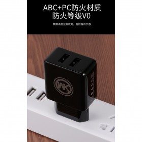WK Charger USB 2 Port 2.1A EU Plug with Lightning Cable - WP-U11 - Black - 2