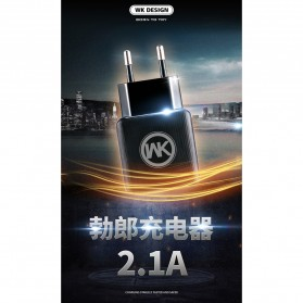 WK Charger USB 2 Port 2.1A EU Plug with Lightning Cable - WP-U11 - Black - 4