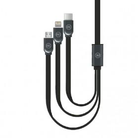 WK Platinum 3 in 1 Kabel Charger Lightning + Micro + USB Type C 1M - WDC-010 - Black - 2