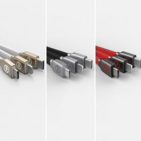 WK Platinum 3 in 1 Kabel Charger Lightning + Micro + USB Type C 1M - WDC-010 - Black - 5