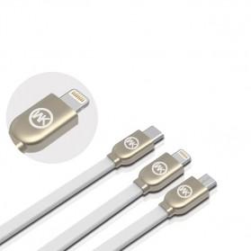 WK Platinum 3 in 1 Kabel Charger Lightning + Micro + USB Type C 1M - WDC-010 - Black - 6