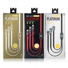 WK Platinum 3 in 1 Kabel Charger Lightning + Micro + USB Type C 1M - WDC-010 - Black - 8