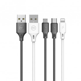 WK Full Speed Pro Kabel Charger Micro USB 2.4A 1 Meter - WDC-092m - Black - 3
