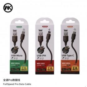 WK Full Speed Pro Kabel Charger Lightning 2.4A 1 Meter - WDC-092i - Black - 2