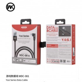 WK Yosi Series Kabel Charger Micro USB L Shape 2.4A 1 Meter - WDC-081m - Black - 2