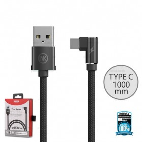 WK Yosi Series Kabel Charger USB Type C L Shape 2.4A 1 Meter - WDC-081a - Black