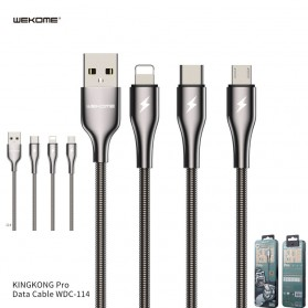 WK Kingkong Pro Series Kabel Charger USB Type C 3A 1 Meter - WDC-114a - Silver - 2