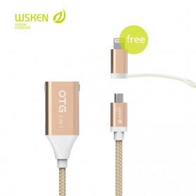 WSKEN 2 in 1 Kabel Charger OTG Micro USB & Lightning - Golden