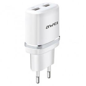 AWEI USB Travel Charger 2 Port 2.1A EU Plug - C-930 - Silver