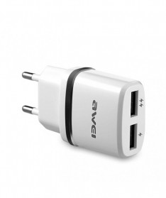 AWEI USB Travel Charger 2 Port 2.1A EU Plug - C-930 - Black