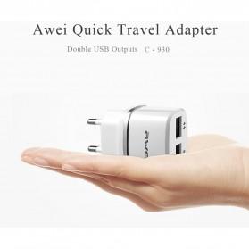 AWEI USB Travel Charger 2 Port 2.1A EU Plug - C-930 - Black - 7