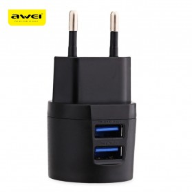 AWEI USB Travel Charger 2 Port 2.1A EU Plug - C-900 - Black