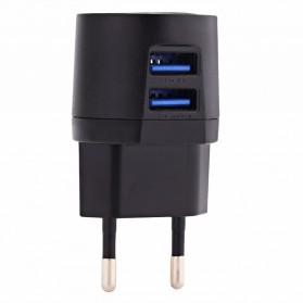 AWEI USB Travel Charger 2 Port 2.1A EU Plug - C-900 - Black - 2