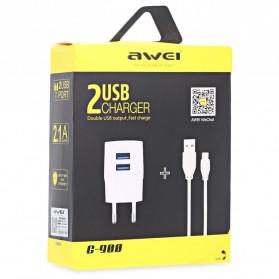 AWEI USB Travel Charger 2 Port 2.1A EU Plug - C-900 - Black - 7