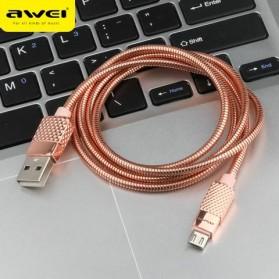 AWEI Kabel Charger Micro USB Metal - CL-88 - Black - 3