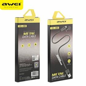 AWEI Kabel Charger Micro USB Metal - CL-88 - Black - 5