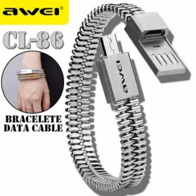 AWEI Kabel Charger Micro USB Bracelet Design - CL-86 - Silver