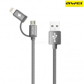 AWEI Kabel Charger 2 in 1 USB Lightning + Micro USB - CL-930 - Gray