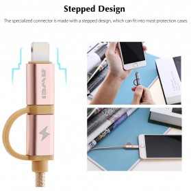 AWEI Kabel Charger 2 in 1 USB Lightning + Micro USB - CL-930 - Gray - 2