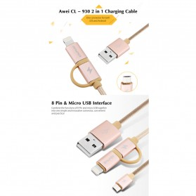 AWEI Kabel Charger 2 in 1 USB Lightning + Micro USB - CL-930 - Gray - 4