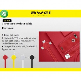 AWEI Kable Charger 3 in 1 Micro USB + Lightning + USB Type C - CL-82 - Black - 4