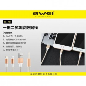 AWEI Kable Charger 2 in 1 Micro USB + Lightning - CL-70 - Golden - 4