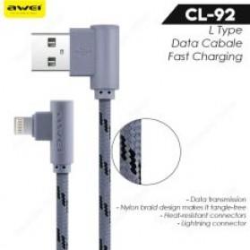 AWEI Kabel Charger Lightning L Shape 2 Meter - CL-92 - Gray - 2