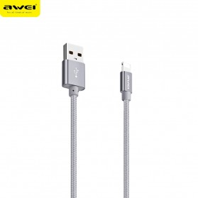AWEI Kabel Charger Lightning Braided 30 cm - CL-988 - Gray