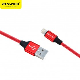 AWEI Kabel Charger Lightning Braided 1m - CL-60 - Red - 2