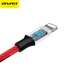 AWEI Kabel Charger Lightning Braided 1m - CL-60 - Red - 3