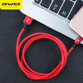 AWEI Kabel Charger Lightning Braided 1m - CL-60 - Red - 4