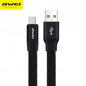 AWEI Kabel Charger Micro USB Braided Noodle 1m - CL-12 - Black