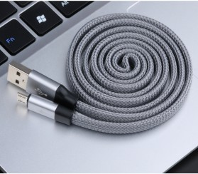 AWEI Kabel Charger Micro USB Braided Noodle 1m - CL-12 - Gray - 2